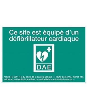 Panneau de signalétique DAE modèle 5 : Ce site est équipé d'un défibrillateur